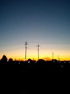 日の出前、朝焼け。